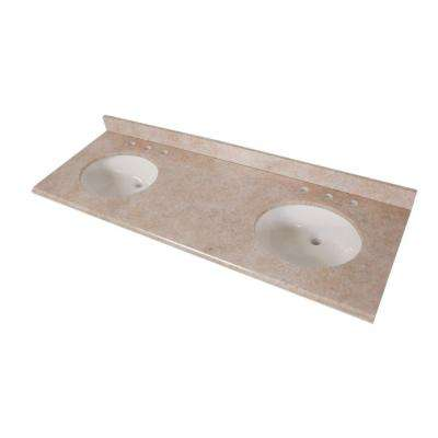 61 in. x 22 in. Stone Effects Double Bowl Vanity Top in Oasis