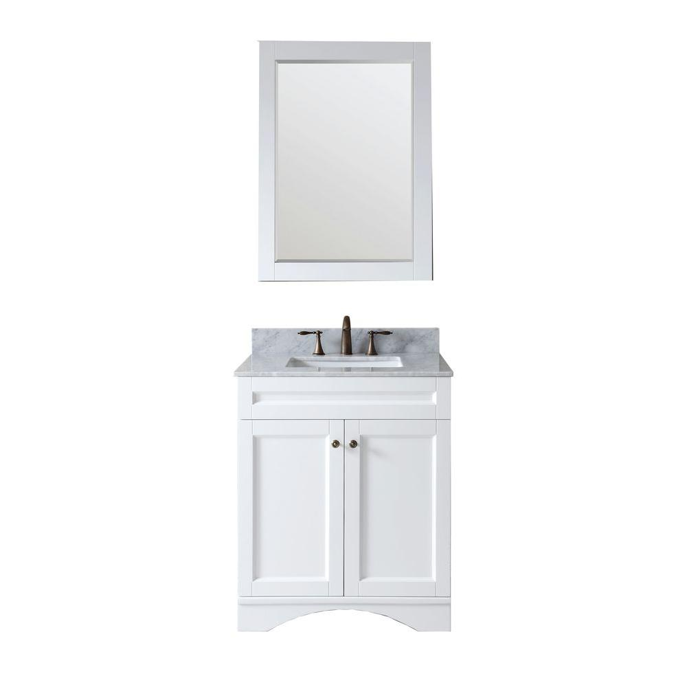 Virtu USA Elise 30 in. Vanity in White with Marble Vanity Top in Italian Carrara White-DISCONTINUED
