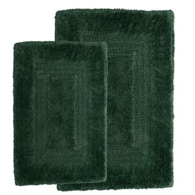 Green 1 ft. 10 in. x 2 ft. 11 in. Cotton 2-Piece Bath Rug Set