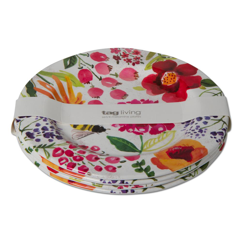 Tag Multicolor Fresh Flowers Melamine Dinner Plate (Set of 4)  sc 1 st  Home Depot : melamine plate set - pezcame.com