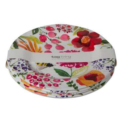 Multicolor Fresh Flowers Melamine Dinner Plate (Set of 4)