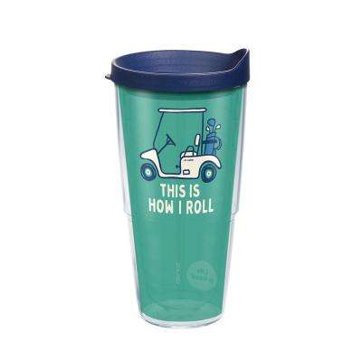 Life Is Good Golf Cart 24 oz. Clear Tumbler with Lid