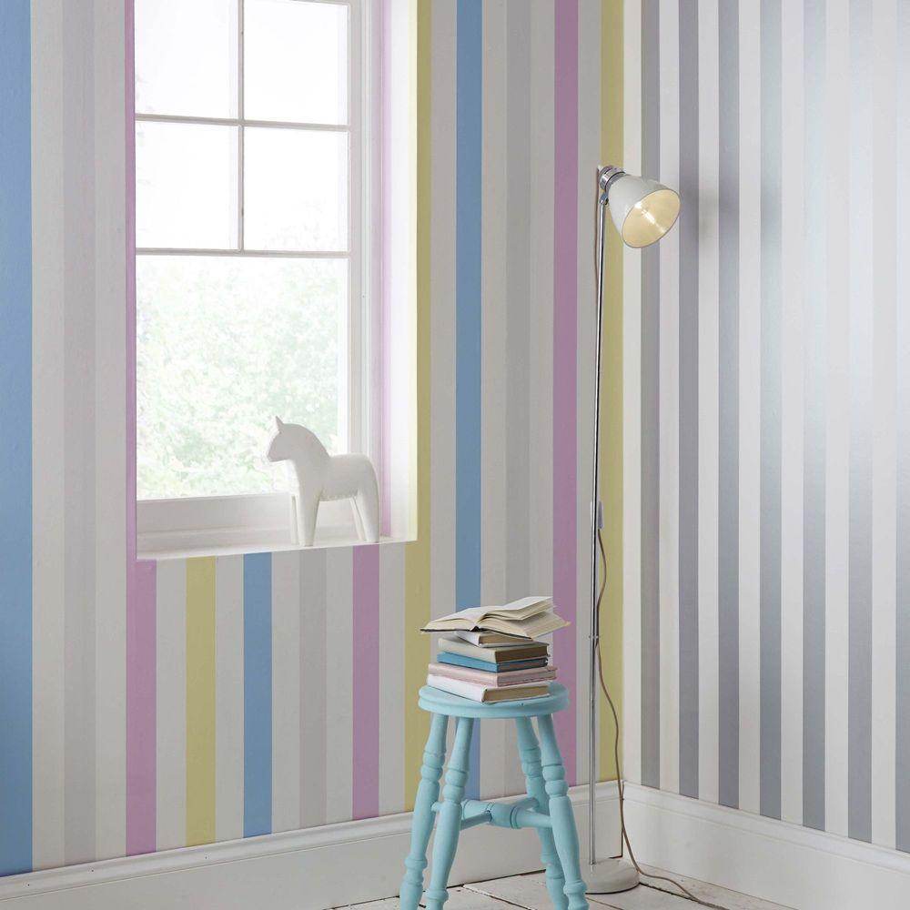 Silver and White Stripe Wallpaper