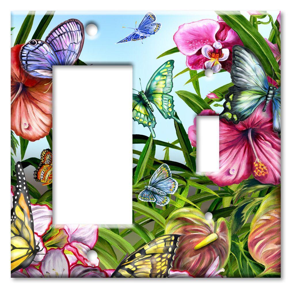 Art Plates Blue Butterflies Rocker/Switch Combo Wall Plate