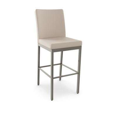 Perry 30 in. Glossy Grey Metal Beige Polyurethane Barstool