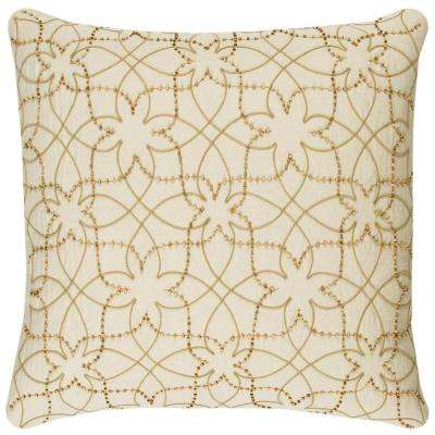 Ivory Cotton/Jute 20 in. X 20 in. Decorative Filled Throw Pillow