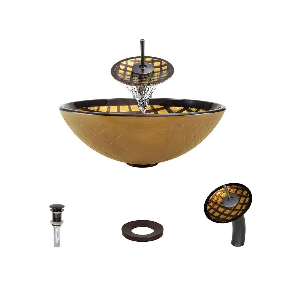 Glass Vessel Sink in Gold and Brown Foil Underlay with Waterfall