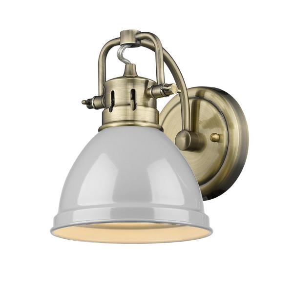 Duncan Collection Aged Brass 1-Light Bath Sconce Light with Gray Shade