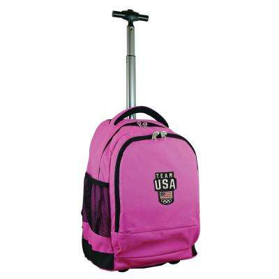 Olympics Team USA Wheeled Premium Backpack in Pink Duffel Bag