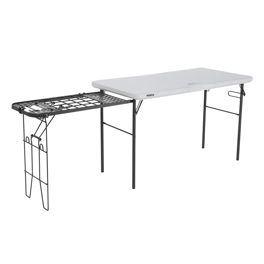 4 ft. White Granite Tailgate Folding Table with Metal Grill Rack