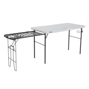 Lifetime 4 Ft White Granite Tailgate Folding Table With