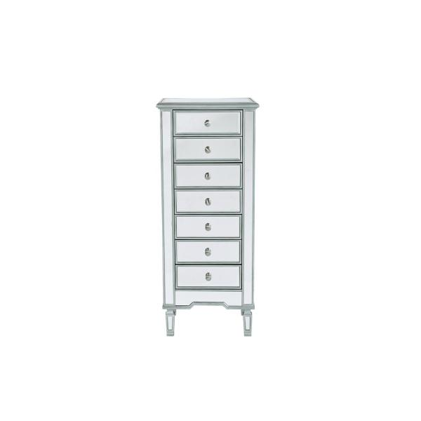 ef1c1c6c8bf 7-Drawers Antique Silver Paint Finish Lingerie Chest with Rectangle Mirror  Top