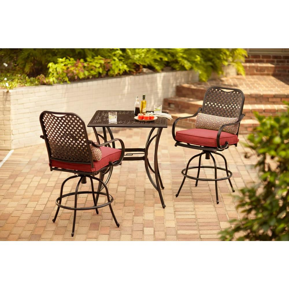 Hampton Bay Fall River 3 Piece Bar Height Patio Dining Set With Chili  Cushions