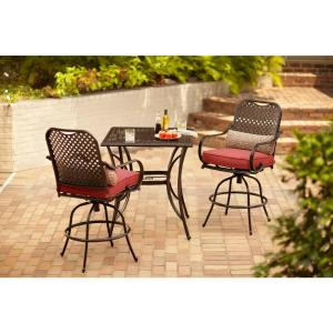 Click here to buy Hampton Bay Fall River 3-Piece Bar Height Patio Dining Set with Chili Cushions by Hampton Bay.