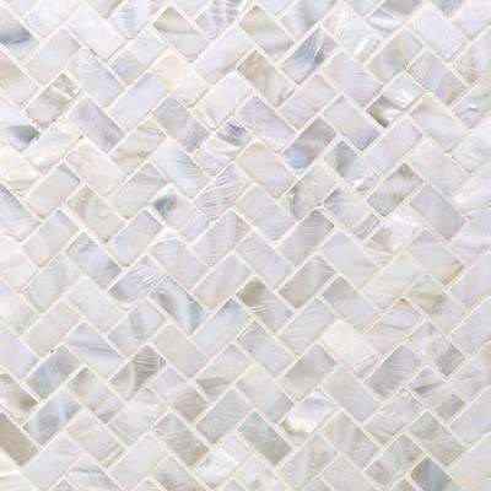 Pacific White Herringbone 11.81 in. x 11.81 in. x 2 mm Pearl Shell Mosaic Tile