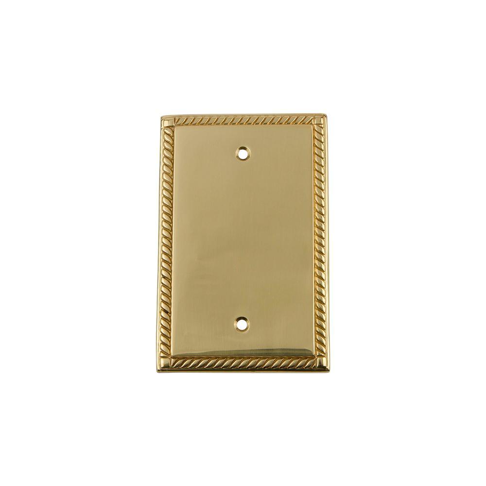 Brass No Gang Blank Plate Wall Plate (1-Pack)