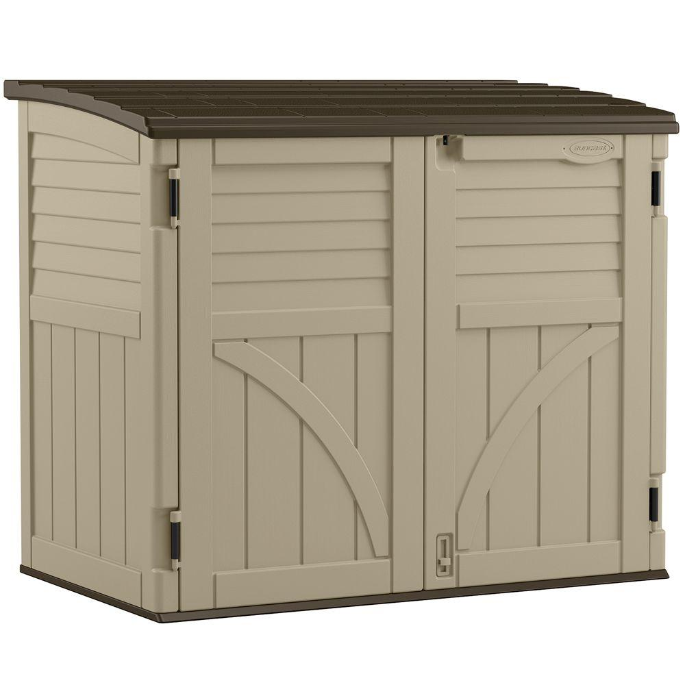 suncast 2 ft 8 in x 4 ft 5 in x 3 ft 95 in resin horizontal storage shed bms3400 the home depot - Garden Sheds 8 X 3