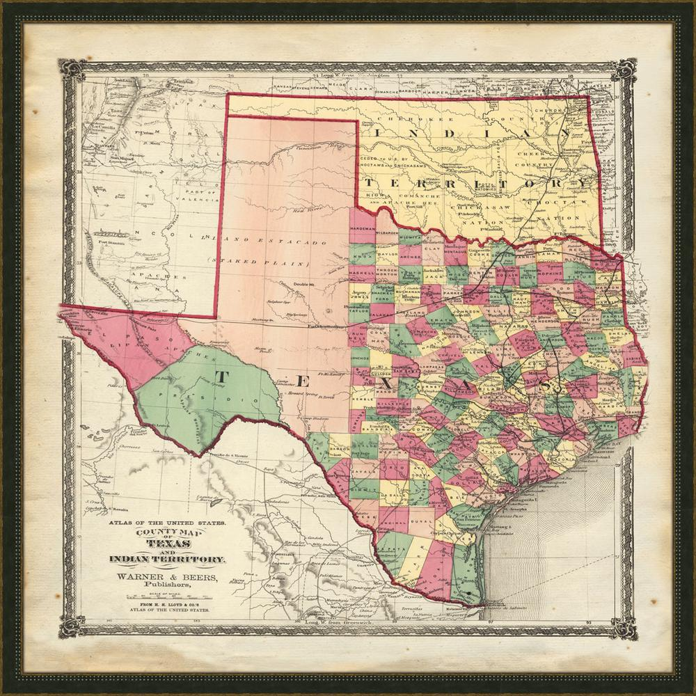 Melissa Van Hise 32 In X 32 In Vintage Map Of Texas Framed