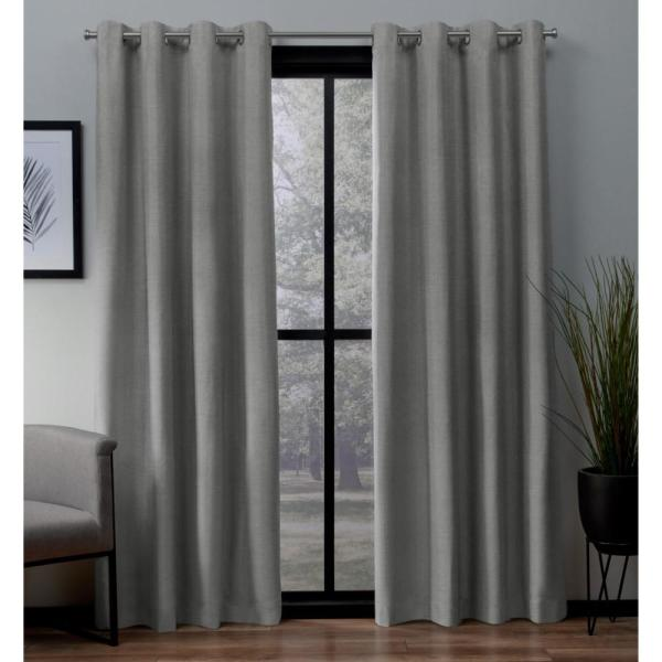 London 52 in. W x 63 in. L Woven Blackout Grommet Top Curtain Panel in Dove Grey (2 Panels)