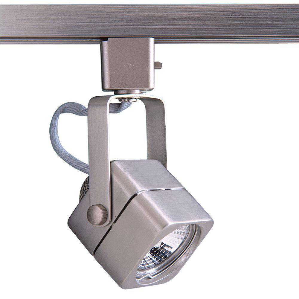 Designers Choice Collection Series 15 Line-Voltage GU-10 Soft Square Brushed Steel Track Lighting Fixture