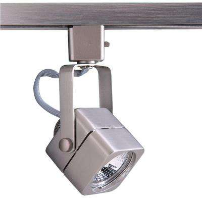Series 15 Line-Voltage GU-10 Soft Square Brushed Steel Track Lighting Fixture