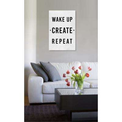 16 in. x 24 in. 'Wake Up Create Repeat' by Oliver Gal Printed Framed Canvas Wall Art