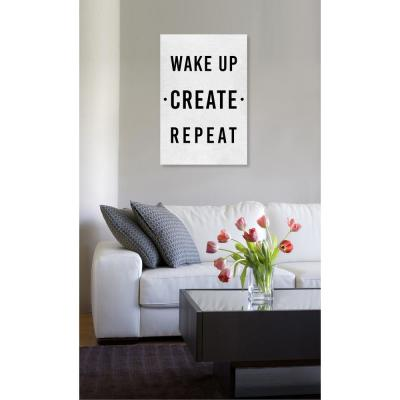 20 in. x 30 in. 'Wake Up Create Repeat' by Oliver Gal Printed Framed Canvas Wall Art