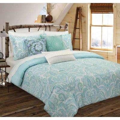 Painterly Paisley Floral White Full/Queen Comforter Set