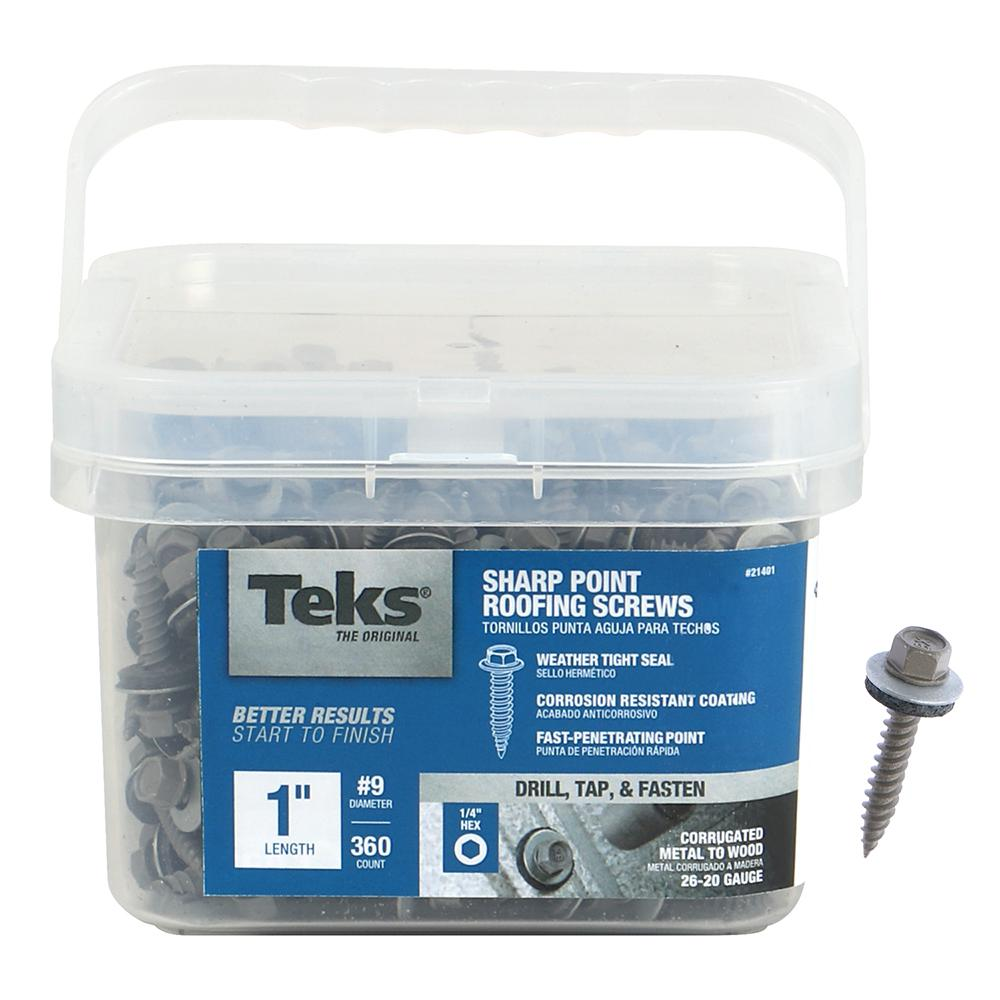 Teks #9-15 x 1 in  Hex Washer Head Sharp Point Roofing Screw (360-Pack)