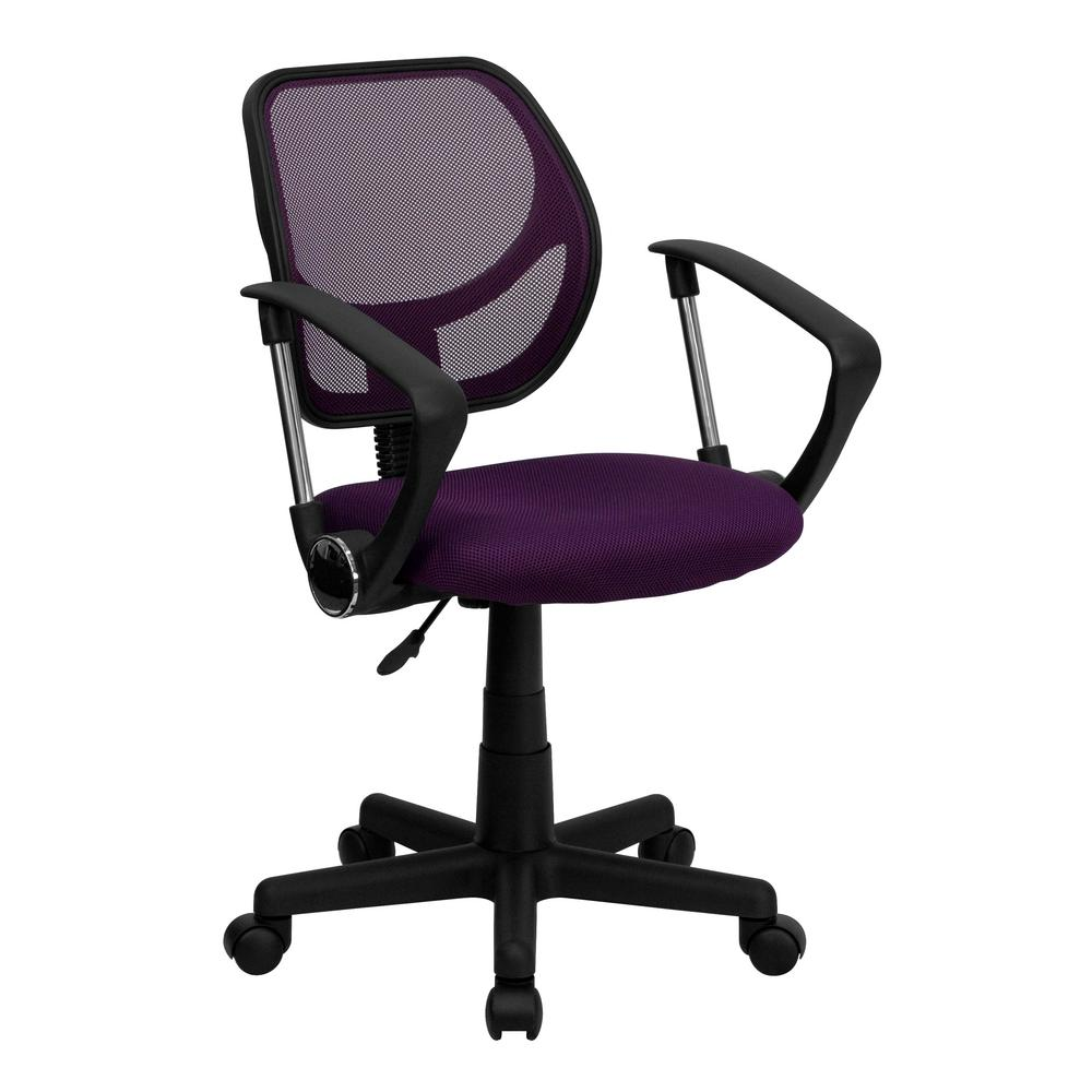 Flash Furniture Purple Mesh Swivel Task Chair With Arms