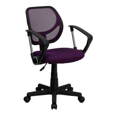Purple Mesh Swivel Task Chair with Arms