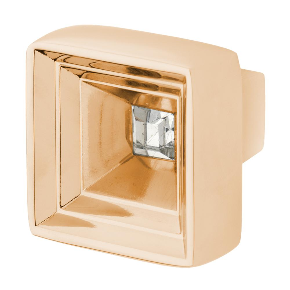 Hidden Treasure 1-1/16 in. Polished Gold with Clear Crystal Cabinet Knob