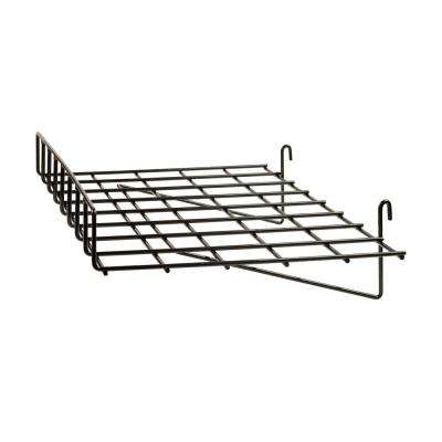 24 in. W x 15 in. D Straight Black Wire Shelf with Front Lip