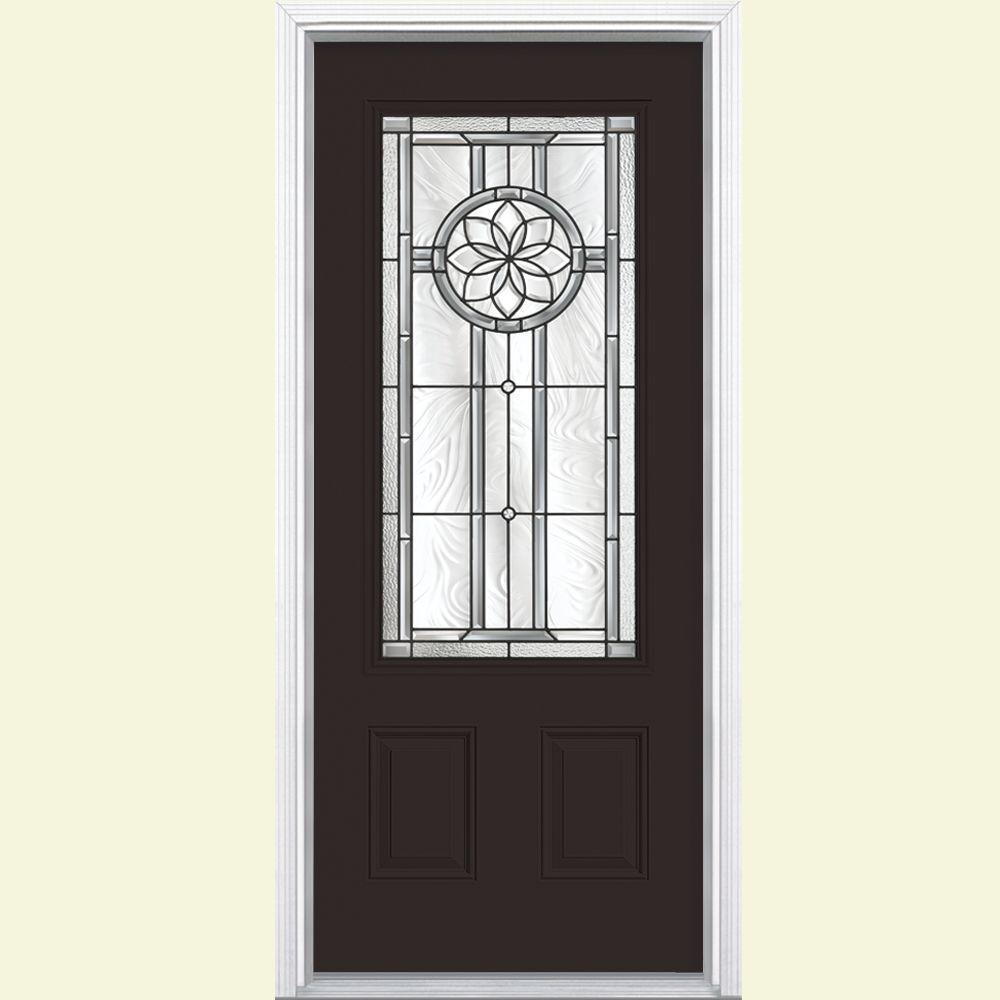 Masonite Carlsbad Three Quarter Rectangle Painted Steel Prehung Front Door with Brickmold-DISCONTINUED