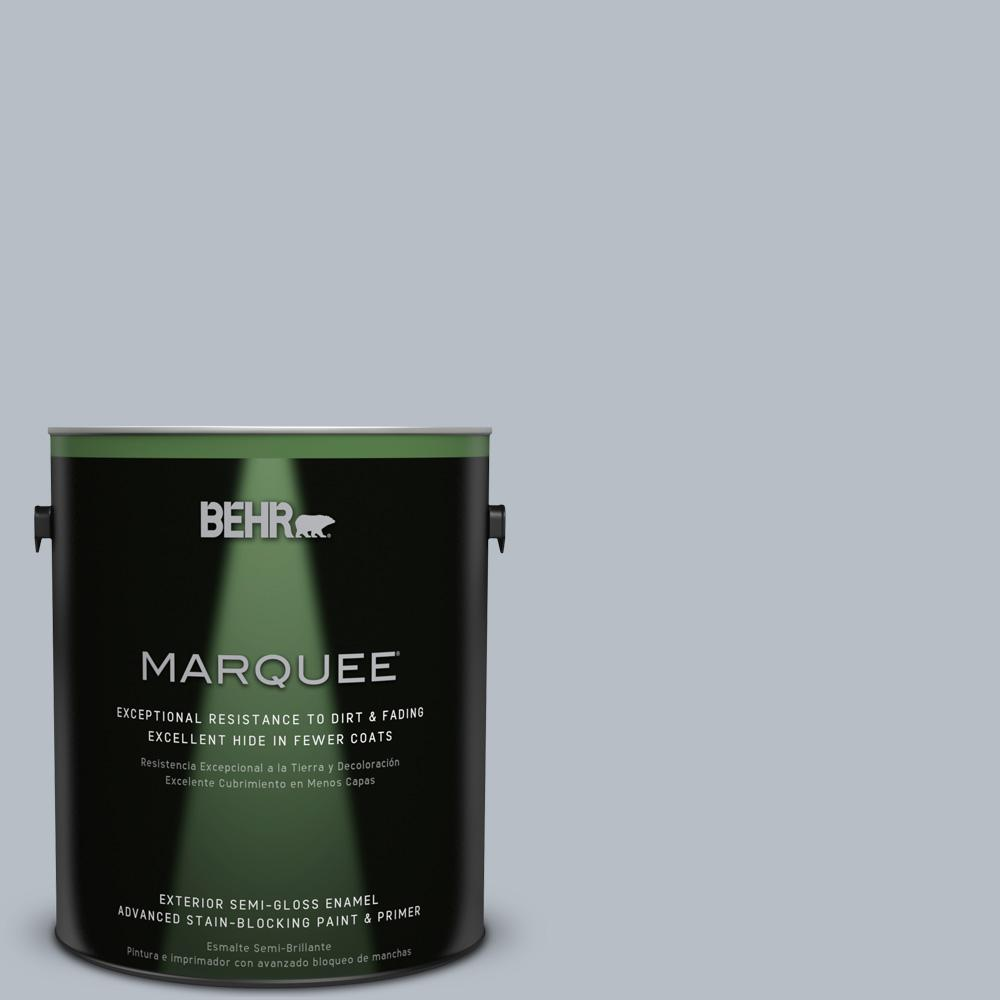 Behr marquee 1 gal 750e 3 skyline steel semi gloss enamel exterior paint 545001 the home depot for Behr exterior paint with primer reviews