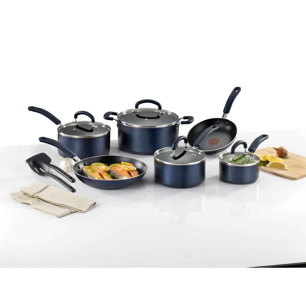 12 Piece Nonstick Cookware Set Sapphire Blue Titanium Home