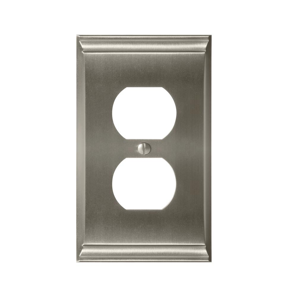 Amerock Candler 1-Duplex Outlet Wall Plate, Satin Nickel