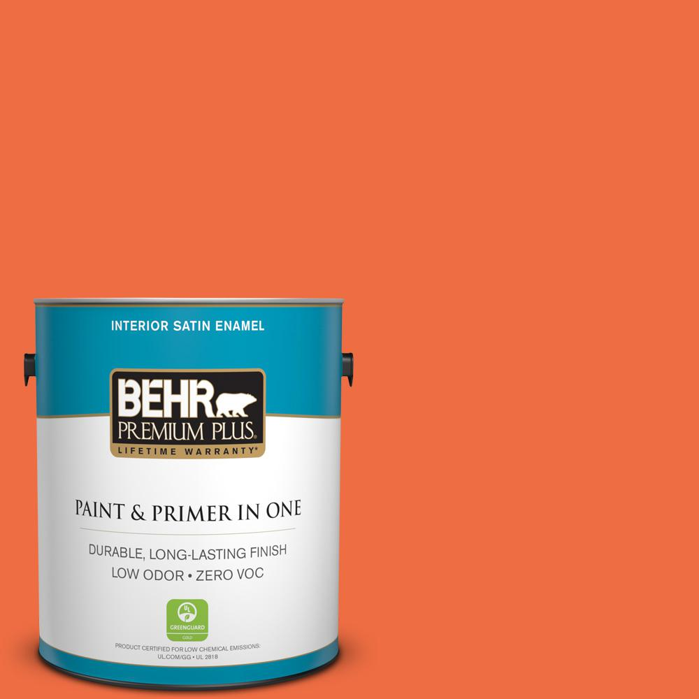 1-gal. #210B-6 Aurora Orange Zero VOC Satin Enamel Interior Paint
