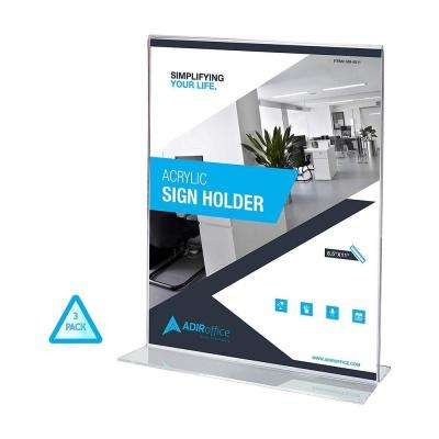 8.5 in. x 11 in. Clear T-Shaped Base Acrylic Sign Holder (3-Pack)
