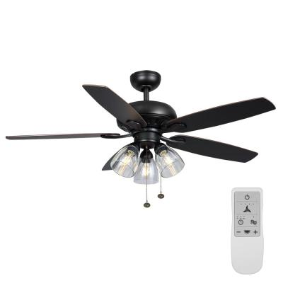 Rockport 52 in. LED Matte Black Ceiling Fan with Light Kit Works with Google Assistant and Alexa