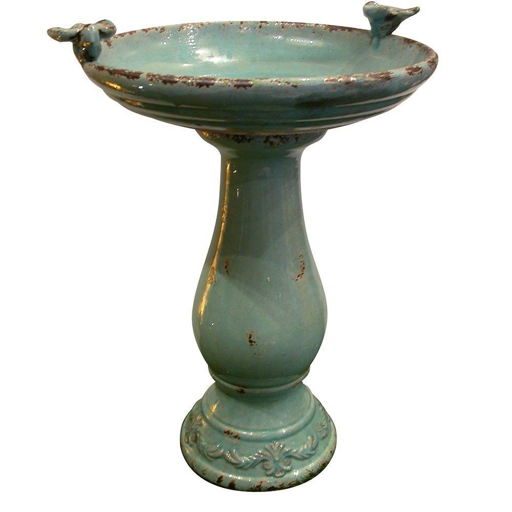 Turquoise Antique Ceramic Birdbath