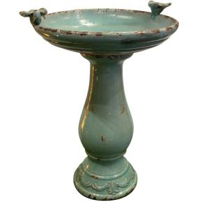 Alpine 25 inch Turquoise Antique Ceramic Birdbath by Alpine