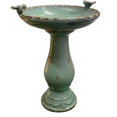 25 in. Turquoise Antique Ceramic Birdbath