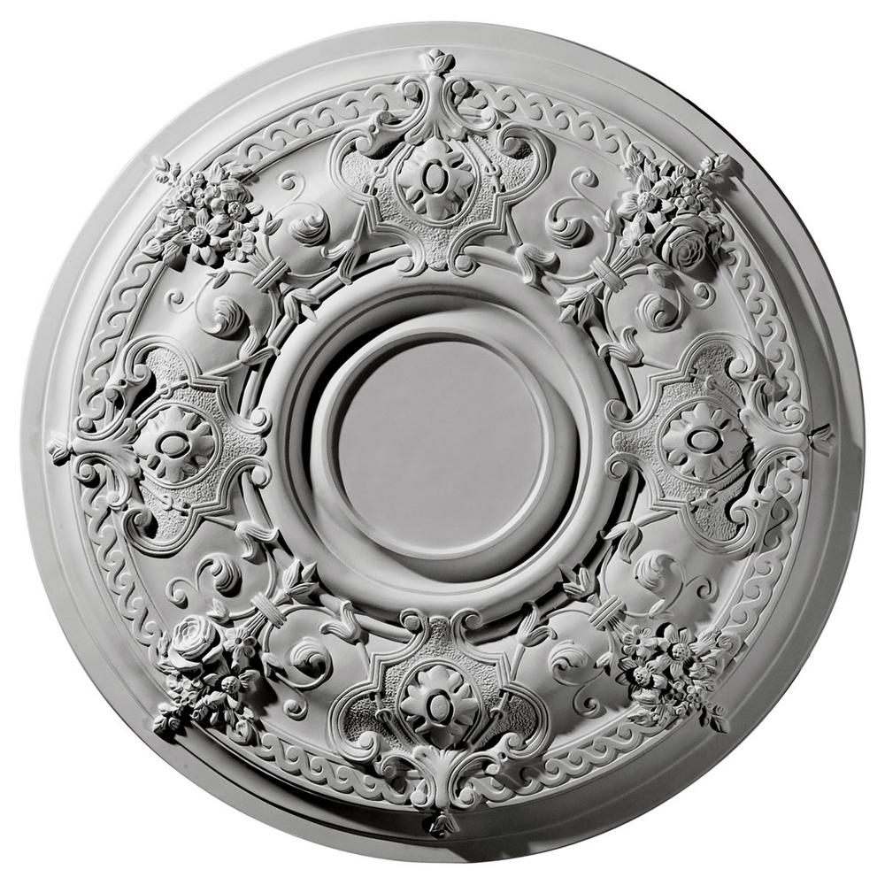 Ekena Millwork 29-1/4 in. x 2 in. Darnay Urethane Ceiling Medallion (Fits Canopies up to 7-1/4 in.), Hand-Painted Mississippi Mud