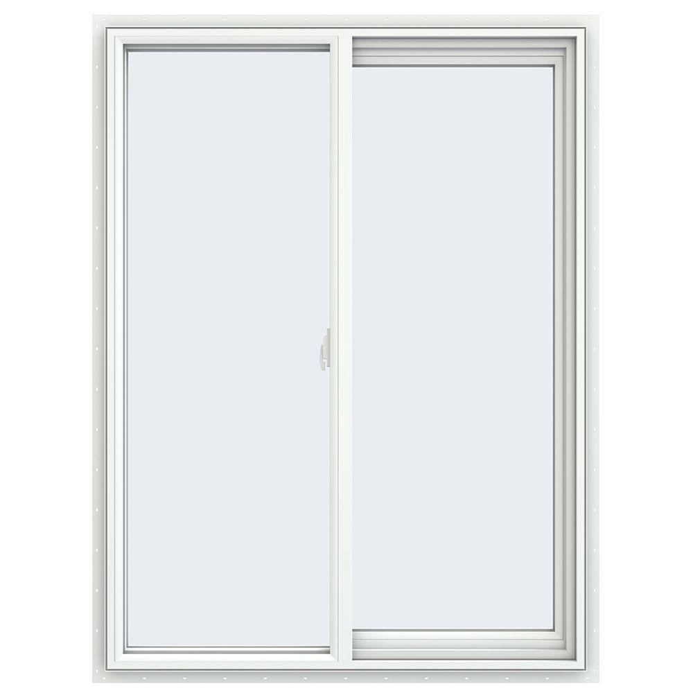 35.5 in. x 47.5 in. V-2500 Series White Vinyl Right-Handed Sliding Window with Fiberglass Mesh Screen