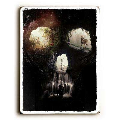 "9 in. x 12 in. ""Cave Skull"" by Ali Gulec Solid Wood Wall Art"