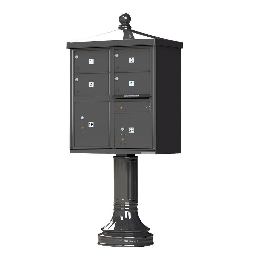 1570 Series 4-Large Mailboxes, 1-Outgoing, 2-Parcel Lockers, Vital Cluster