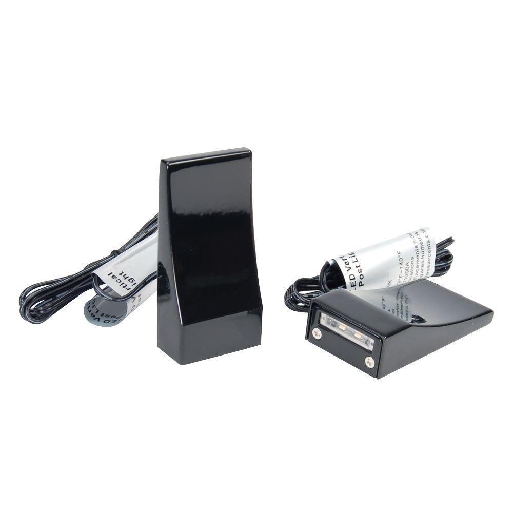 Gloss Black Vertical LED Post Light (2-Pack)