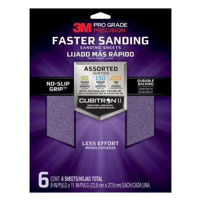 Pro Grade Precision 9 in. x 11 in. 80, 150, 220 Assorted Grit Advanced Sanding Sheets (6-Pack) (Case of 16)