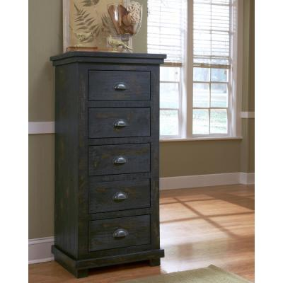 Willow 5-Drawer Distressed Black Lingerie Chest of Drawers